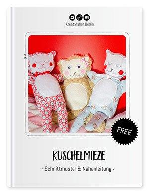 Bild mit verschiedenen Kuscheltieren nach dem Schnittmuster der Kuschelmieze von Kreativlabor Berlin.