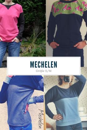 """Kostenloses Schnittmuster Raglan Shirt """"Mechelen"""" in den Größen S & M von Elle Puls in verschiedenen Varianten genäht."""