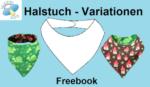 Titelbild für das kostenlose Schnittmuster eines Halstuchs mit zwei genähten Beispielen.