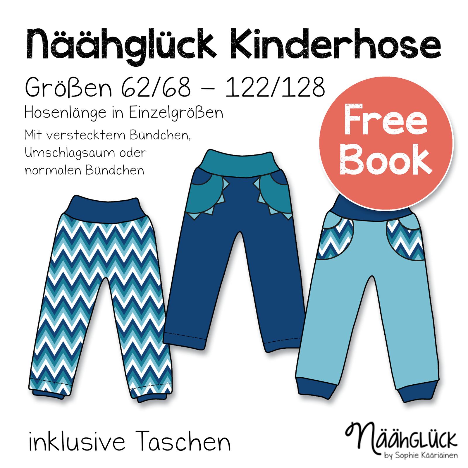 Titelbild für kostenlose Schnittmuster einer Kinderhose von Näähglück. Die Schnittmustervarianten werden hier dargestellt.