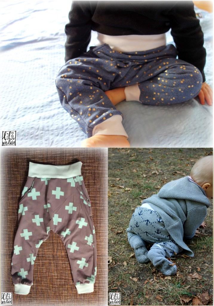 Kostenloses Schnittmuster Babyhose Broekje - Eine Hosen mit mehreren Varianten von Lila wie Liebe