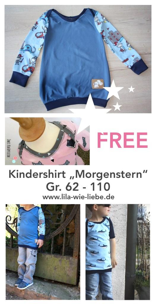 """Das Baby und Kinder Shirt """"Morgenstern"""" von Lila wie Liebe ist ein ideales Shirt, was du bequem über den Kopf ziehen kannst."""