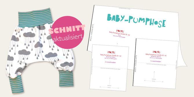 Titelbild der Baby Pumphose von Lybstes mit aktualisiertem Schnittmuster.