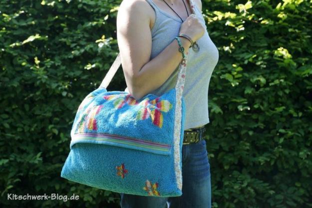 Nähanleitung für eine DIY Strandtasche von Kitschwerk