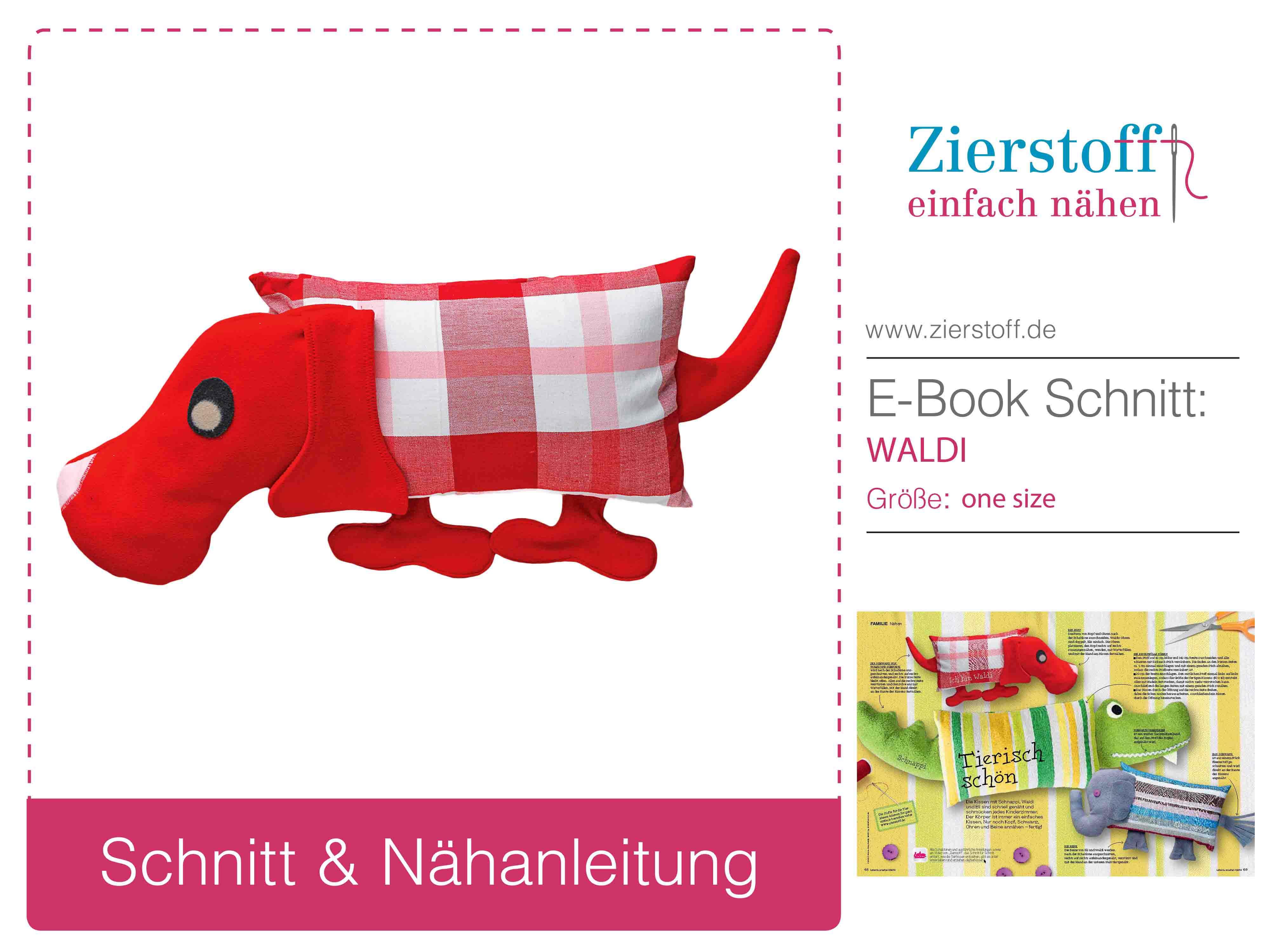 """Gratis Schnittmuster für Tierkissen Hund """"WALDI"""" von Zierstoff"""