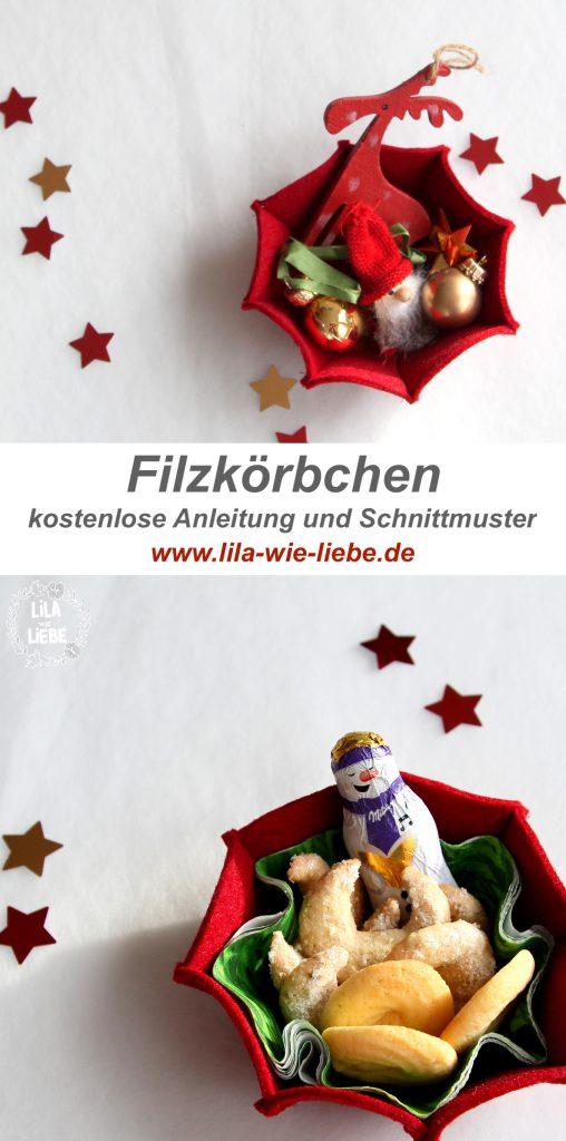 Schnittmuster Filzkorb für Weihnachten von Lila wie Liebe.
