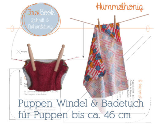 Kostenlose Schnittmuster Puppen Windel und Badetuch für Puppen von Hummelhonig.