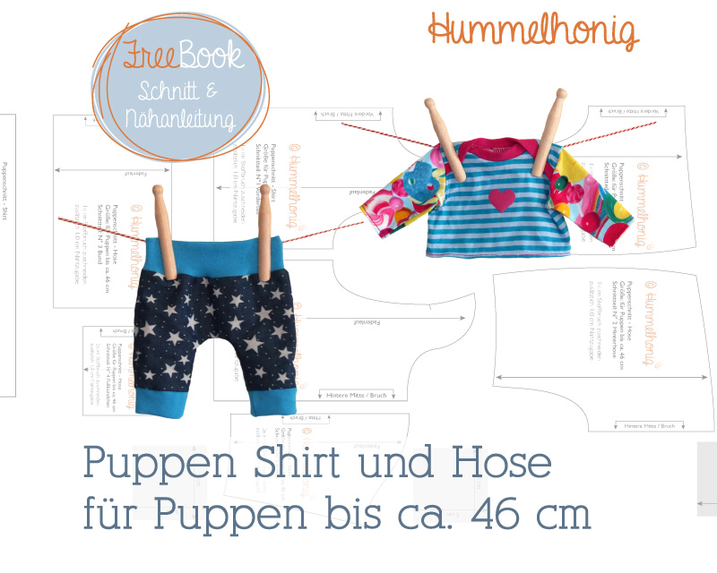 Kostenlose Schnittmuster Puppen Shirt & Hose (Bis ca. 46cm) von Hummelhonig