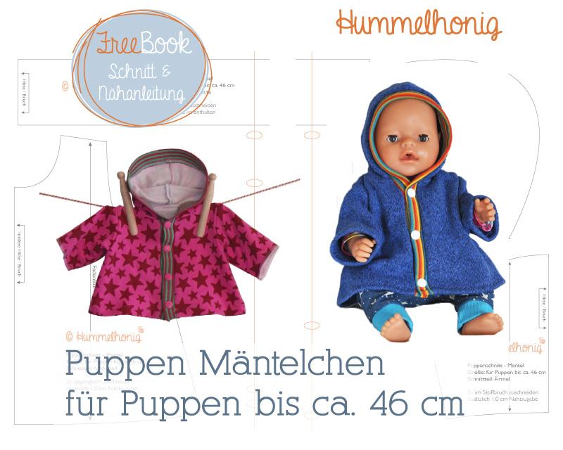 Kostenloses Schnittmuster für Puppen Mantel (Gr. 42-46cm) von Hummelhonig