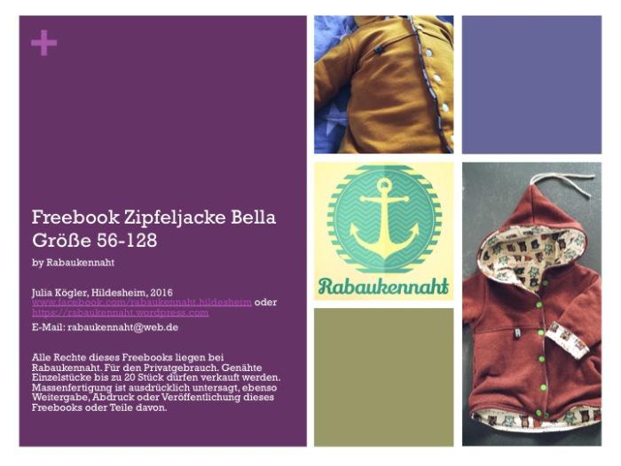 """Schnittmuster Zipfeljacke """"Bella"""" (Größe 56-128) von Raubaukennaht – 100% kostenlos"""